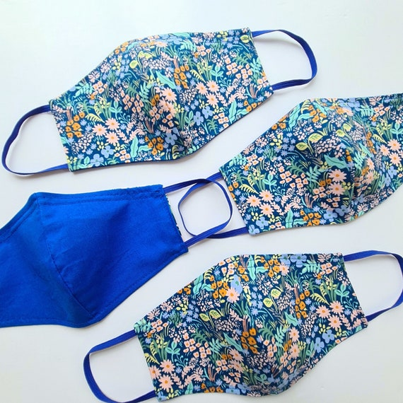 Blue Floral Face Mask - Ladies/Teens Size