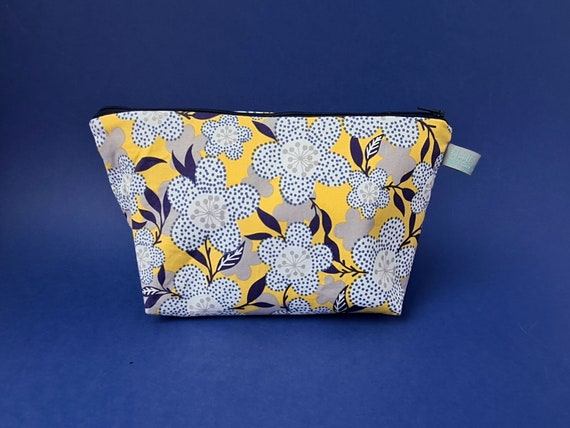 Yellow & Blue Floral Makeup Bag / Cosmetic Bag