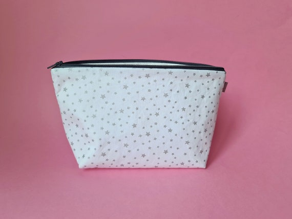 Metallic Silver Star Makeup Bag / Wash Bag / Cosmetic Bag
