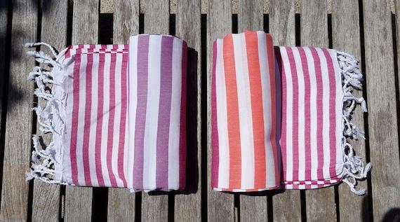Dual Colour Yoga Towel / Peshtemal Beach Towel with white fringe tassel