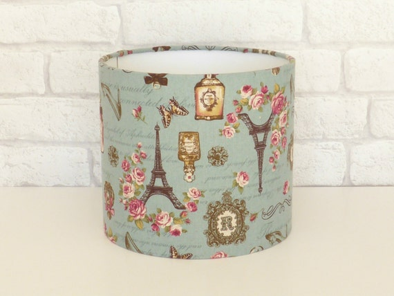 French inspired table lampshade - Paris/Perfume/Eiffel Tower/Floral