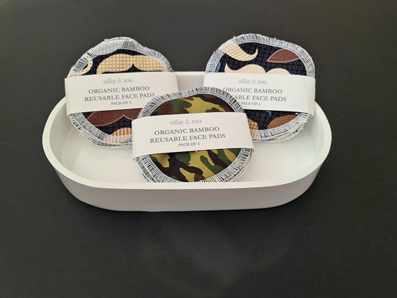 4 PACK - Men's Reusable Face Wipes / Reusable Cotton Rounds / Reusable Face Pads / Face Scrubbies