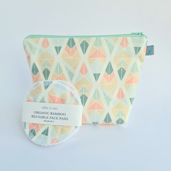 GIFT SET:  Geometric Pastel Arrow Cosmetic bag + Pack of 4 reusable face wipes