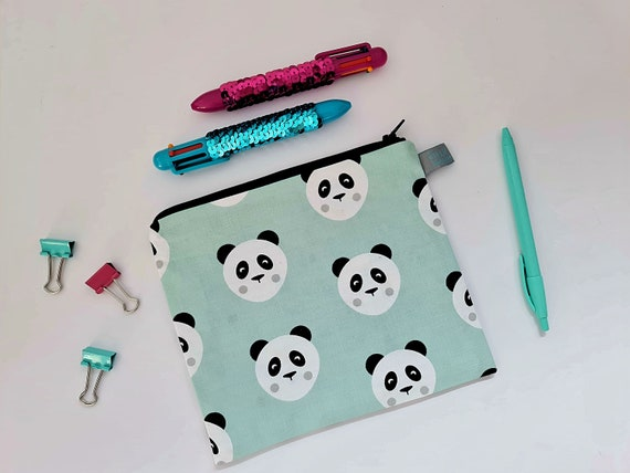 Mint Panda Pencil Case / Cosmetic Pouch