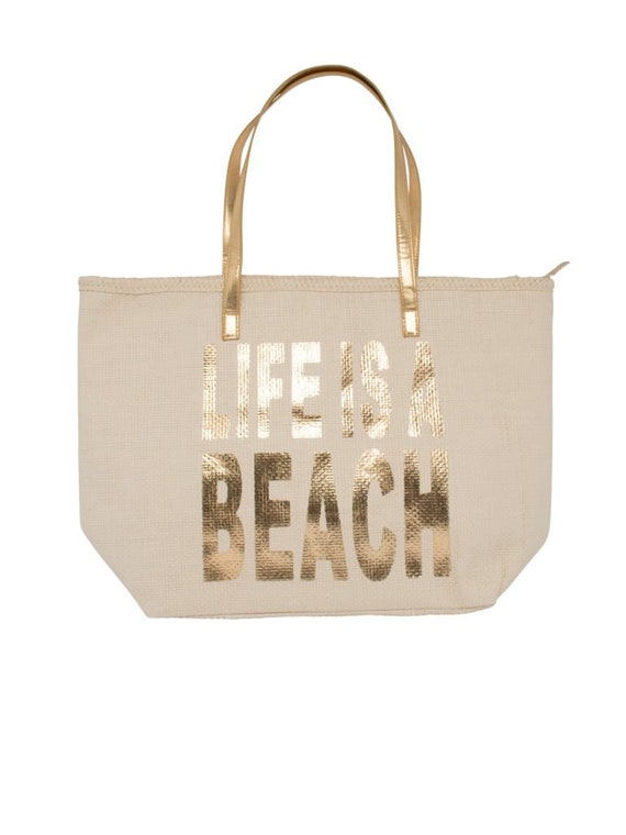 Woven Beach Bag - Life is a beach