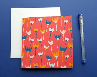 CORAL TULIP CARD, blank greeting card