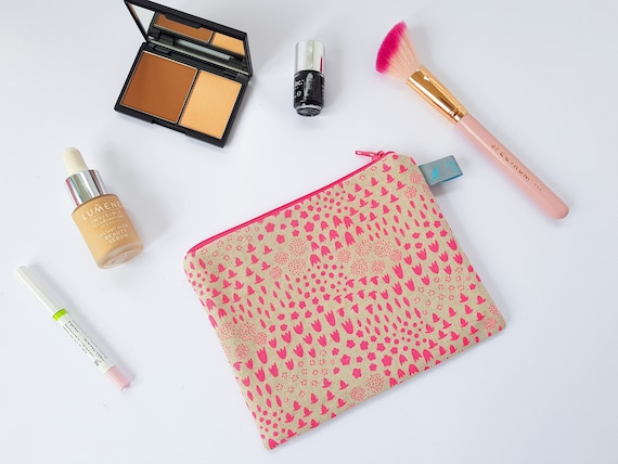 Neon Pink Folk Floral Makeup Bag & Mini Cosmetic Pouch