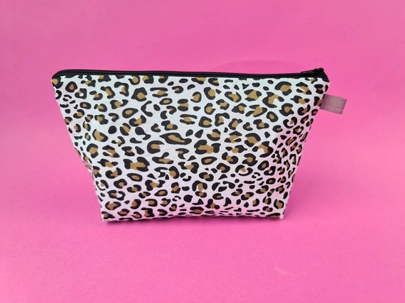 Black & brown Animal Print Cosmetic Bag / Makeup Bag / Wet Bag