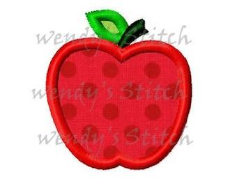 mini apple applique machine embroidery design digital pattern instant download