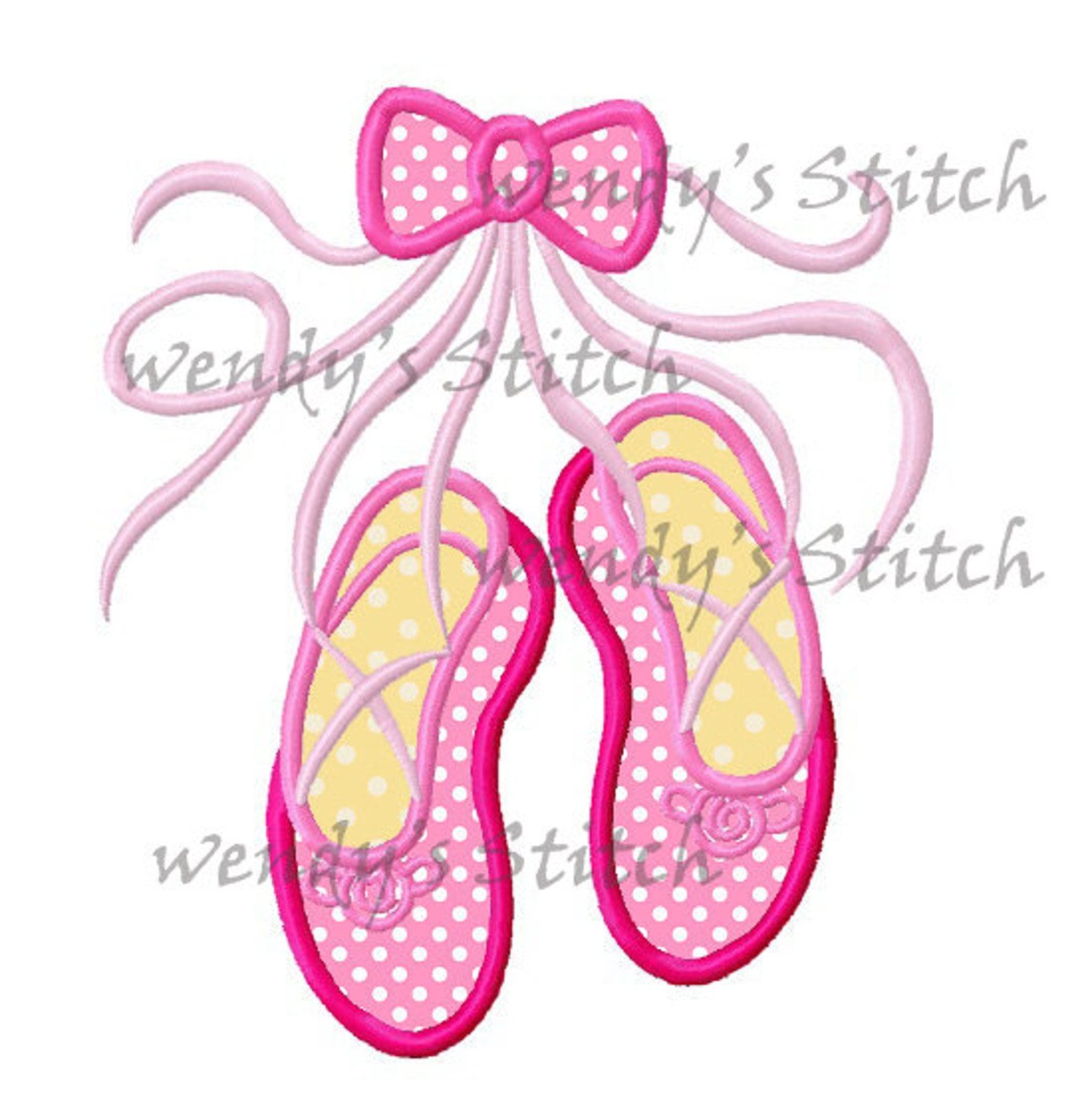 ballerina ballet shoes slippers machine embroidery design digital applique