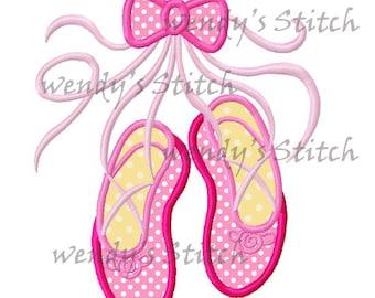 Ballerina ballet shoes slippers machine embroidery design digital applique