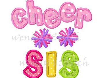 cheer sis cheerleader sister applique machine embroidery design instant download