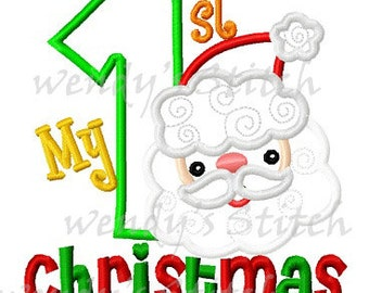 My 1st Christmas Santa applique machine embroidery design