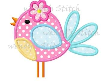 Cute flower bird applique machine embroidery design digital pattern