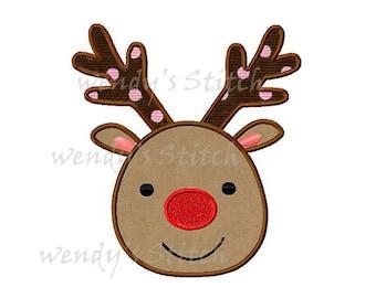 Christmas reindeer applique machine embroidery digital design