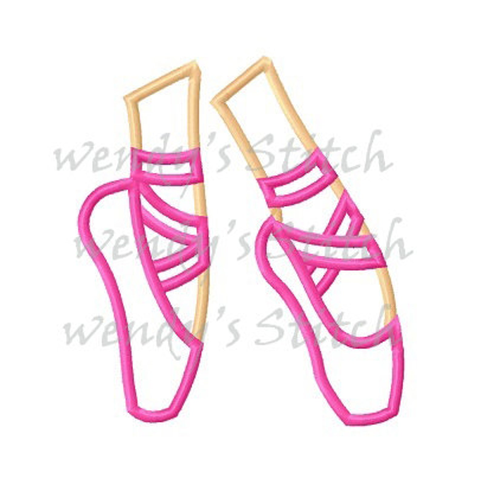 ballerina shoes ballet applique machine emboridery design digital pattern