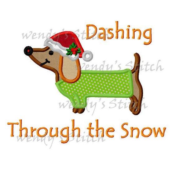 Dashing Through The Snow Christmas Dog Applique Machine Etsy