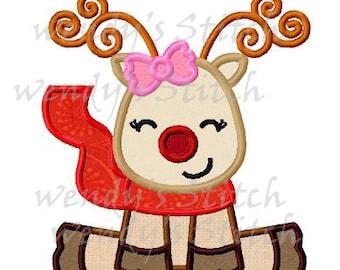 Christmas happy girl reindeer applique machine embroidery design