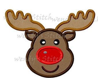 Christmas reindeer applique machine embroidery design digital pattern