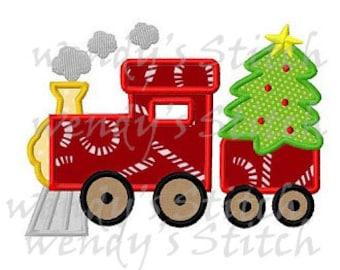 Christmas tree train applique machine embroidery design