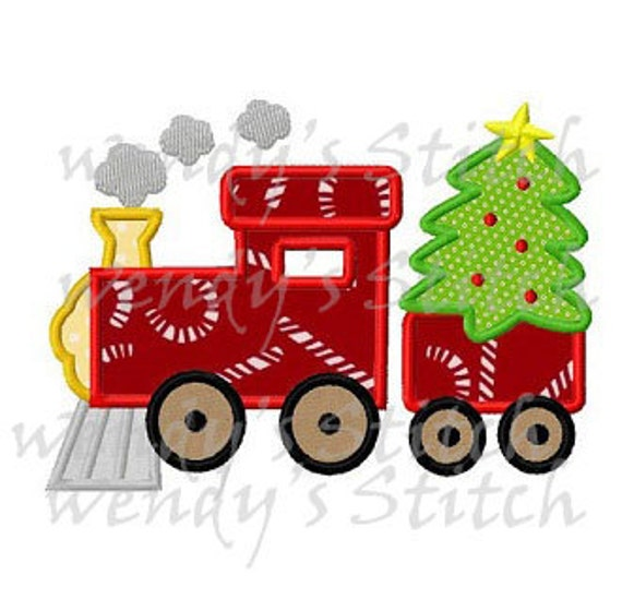 Christmas Tree Train.Christmas Tree Train Applique Machine Embroidery Design