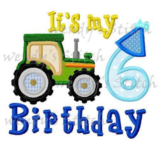 Traktor Applikation Nummer 6 Geburtstag Maschinenkonstruktion Etsy
