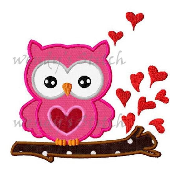 San Valentín amor patrón digital de buho apliques máquina   Etsy