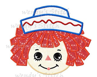 Vintage raggedy andy applique machine embroidery design