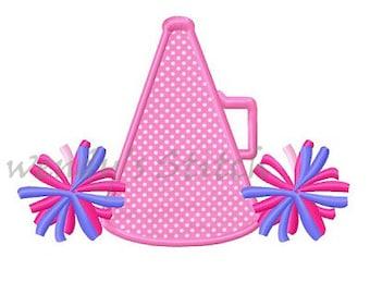 Cheerleader megaphone pom pom applique machine embroidery design