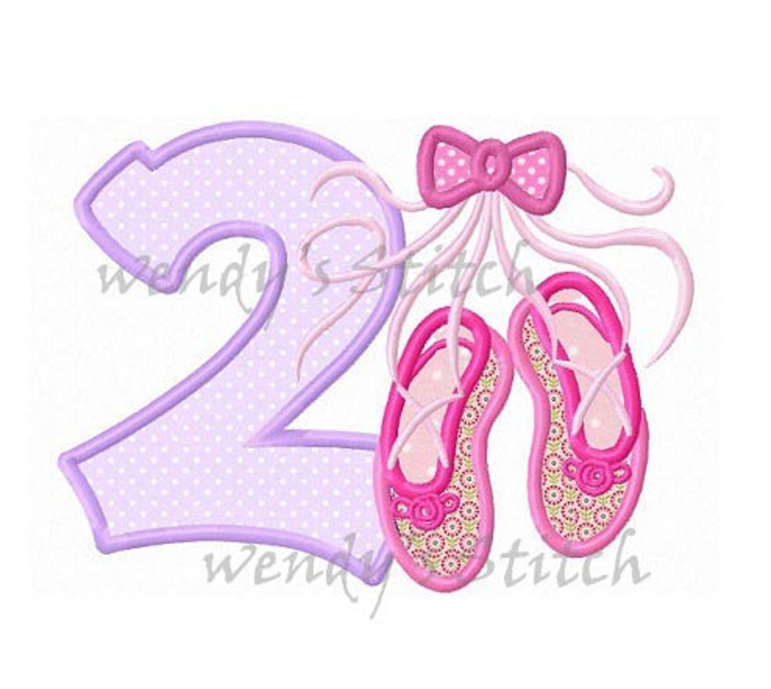 ballerina ballet applique birthday number 2 machine embroidery design ballet shoes slippers