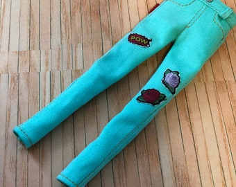 Skinny pants in turquoise for pullip doll
