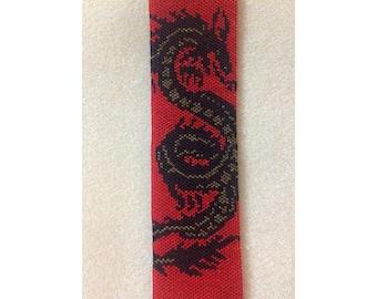 Instant Download Beading Pattern Peyote Stitch Bracelet Dragon Seed Bead Cuff