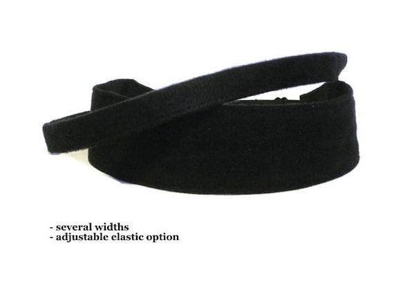 Black Suede Cloth Headbands for women men girls Adjustable No  94f25624afc