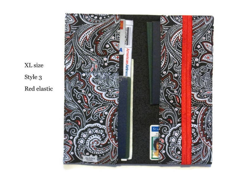 Passport Wallet and Boarding Pass Holder in Black Paisley Fabric  Long Travel Document Holder for Family of 4,5,6 Women/'s Travel Gift