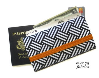 Travel Document Holder/ Passport and Boarding Pass Holder / Family Fabric Passport Wallet / Long Travel Wallet /Travel Gift (Black Weave)