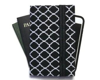 Passport Cover, Family Travel Wallet for 4 Passports, iPhone Cell Phone Case, Passport Wallet, Passport Case in Black Quatrefoil Fabric
