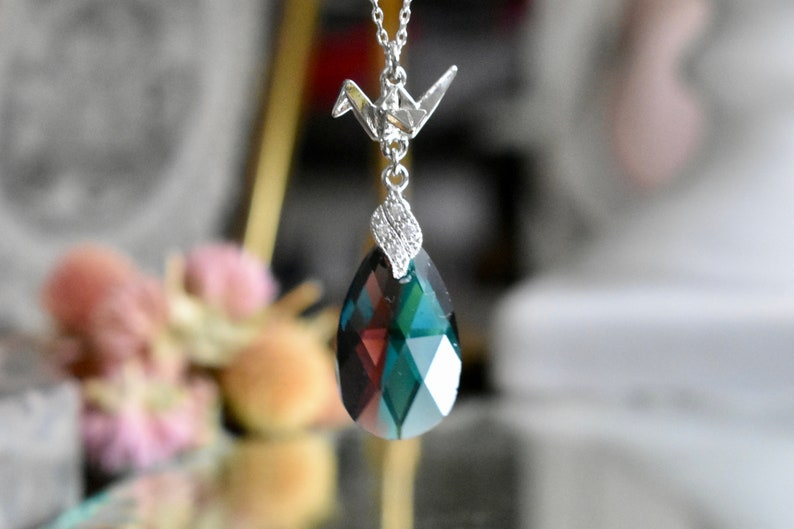 dccb6f896 Silver necklace with 3D origami crane drop pendant in color | Etsy