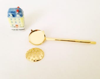 1pc flat Barrette bun 5cm gold sifter top hole to decorate or embroidery