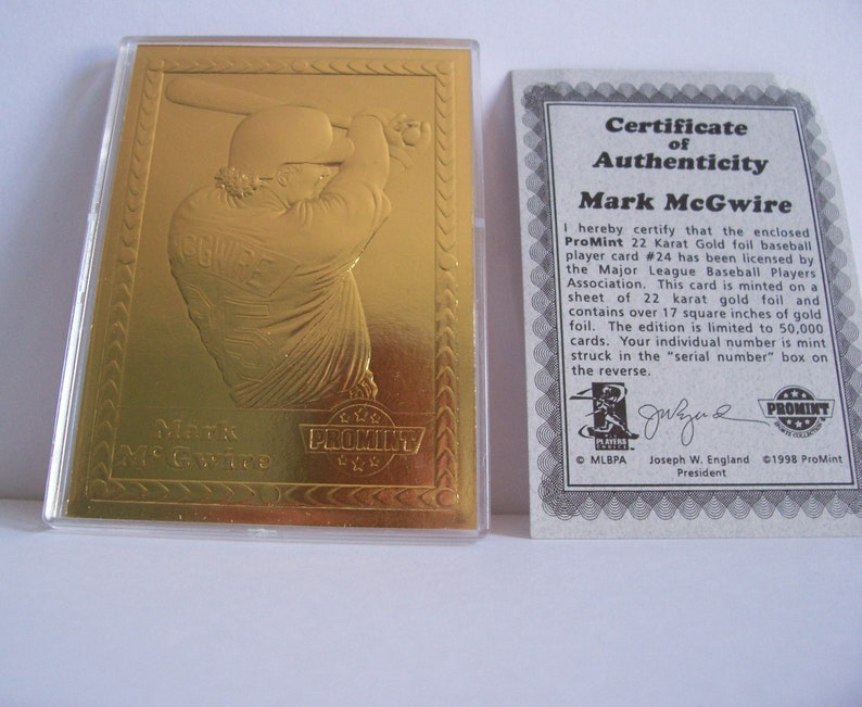 Baseball Card Mark Mcgwire 22 Karat Gold Foil Promint Case Certificate Of Authenticity Vintage Sports Collectibles Mint Ephemera Memorabilia