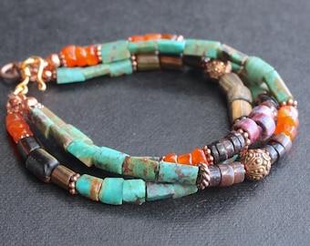 Bracelet  / Turquoise, carnelian, agate, glass and copper / Boho bracelet / 3-strand bracelet