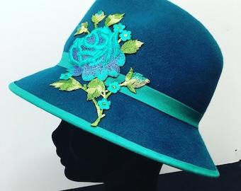 Teal Rose Fedora Hat