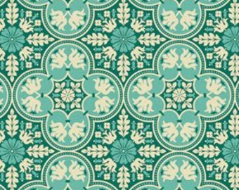 NOTTING HILL by Joel Dewberry - Fabric - Historic Tiles in Teal -  Quilting - Sewing - Home Decor - Crafting - Floral - Mosaic