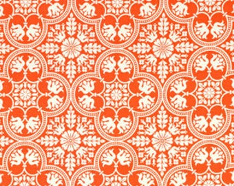 NOTTING HILL by Joel Dewberry - Fabric - Historic Tile in Tangerine - Quilting - Sewing - Home Decor - Crafting - Floral - Mosaic - Floral