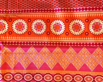 NOTTING HILL by Joel Dewberry - Fabric - Banded Bliss in Tangerine -  Quilting - Sewing - Home Decor - Crafting - Floral