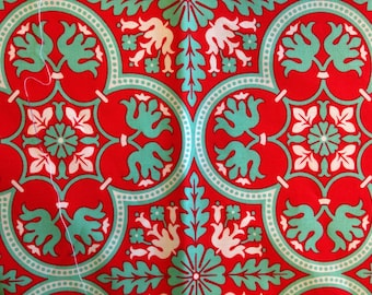 NOTTING HILL by Joel Dewberry - Fabric - Historic Tile in Poppy -  Quilting - Sewing - Home Decor - Crafting - Floral - Mosaic