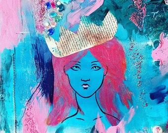 LISA - Mixed Media Print Medusa Greek Goddess Princess Queen Girl Mermaid Blue Pink Sister Mom Aunt Gift Sparkles Gems Crystals Glitter