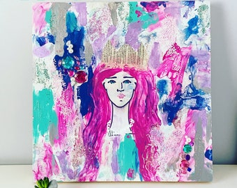 CECILIA - Mixed Media Print Mermaid Queen Princess Pink Hair Glitter Sparkly Sparkles Gems Crystals Teal Turqoise Purple Long Hair Pearls