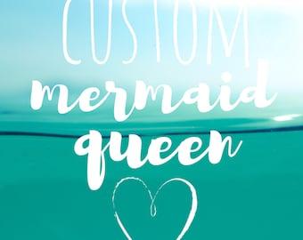Custom Mermaid Queen Painting on Canvas Original Artwork Bespoke Art Handmade Gift Sister Aunt Mom Queen Mermaid Princess Drag Glitter Gem