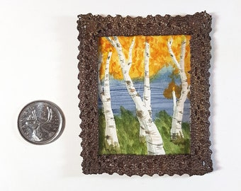 Miniature Framed Painting: Birches