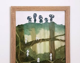 Original Watercolour: Tree Spirits in Forest